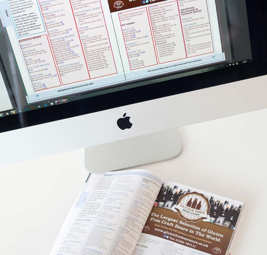 Display of Coeliac directory against indesign layout